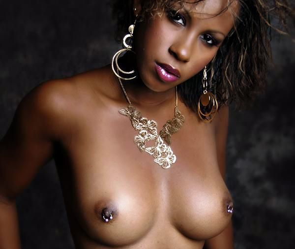 Beautiful Ebony with Piercing Nipples